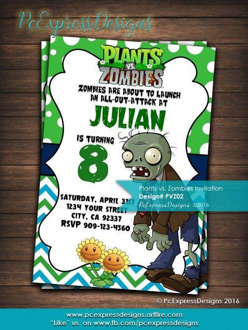 Plants Vs Zombies Invitaton Pvz02 Plants Vs Zombies Zombie Birthday Zombie Party