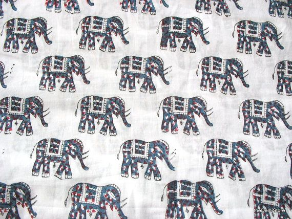 Elephant Print Fabric  Hand Printed Soft Semi by theDelhiStore