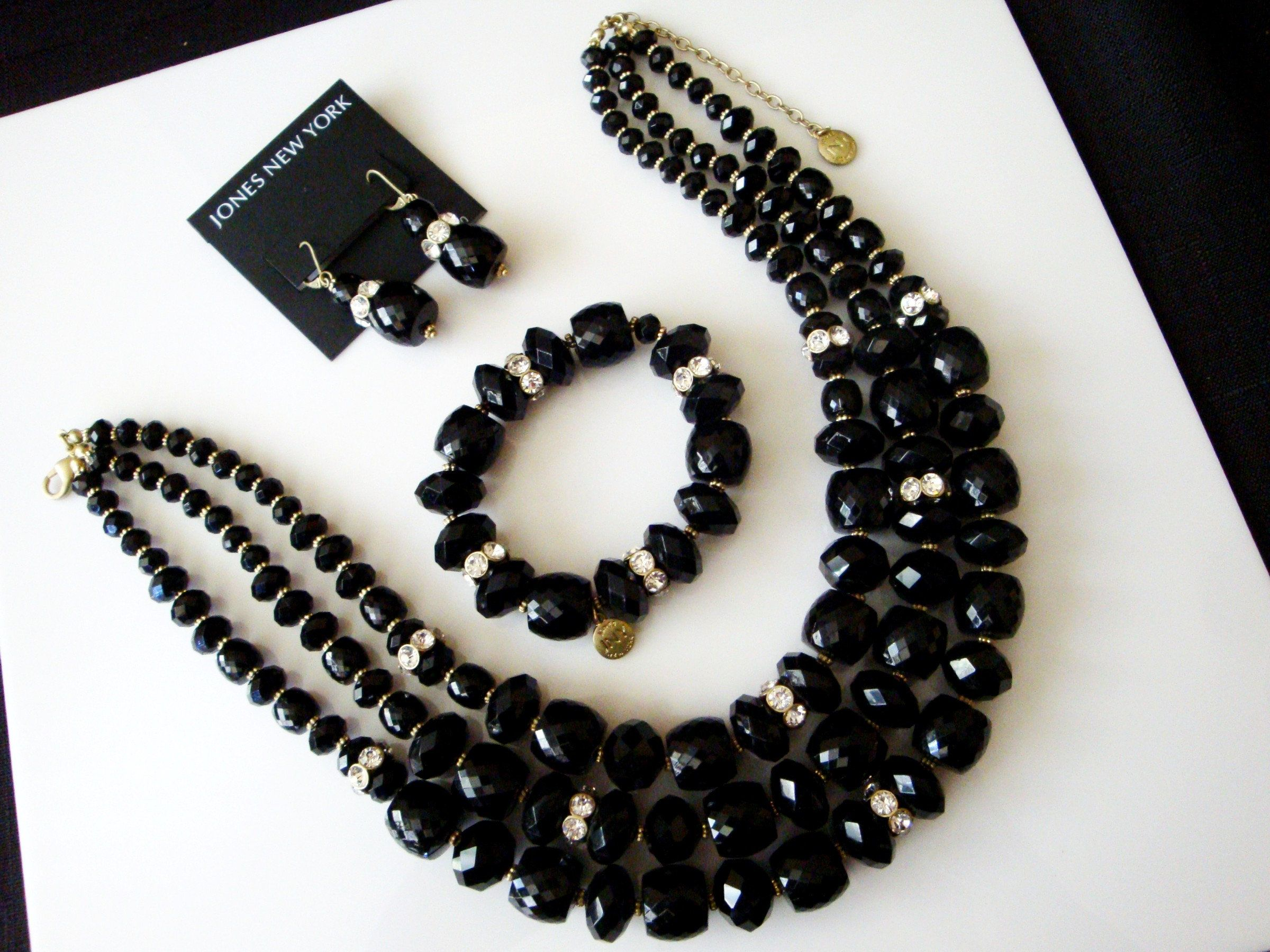 Black Bead Necklace and Dangle Earrings Black Crystals Necklace Sets: Necklace and Earring Sets Black Jewelry.