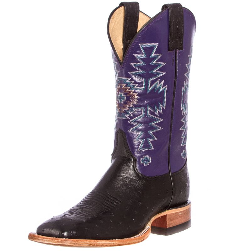 "justin black ostrich boots for women | Shop Women's Justin Black Smooth Ostrich 11"" Purple Aztec Stitch Top ..."