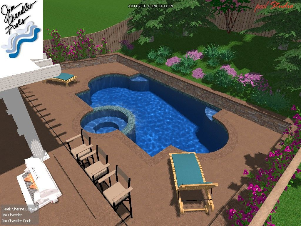 Formal Design Pool Spa With Raised Stone Retaining Wall