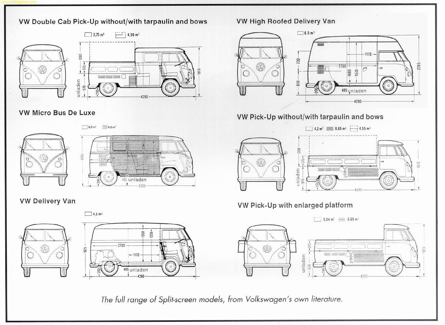 dimensions split vw splitty t1 pinterest vw volkswagen and vw bus. Black Bedroom Furniture Sets. Home Design Ideas
