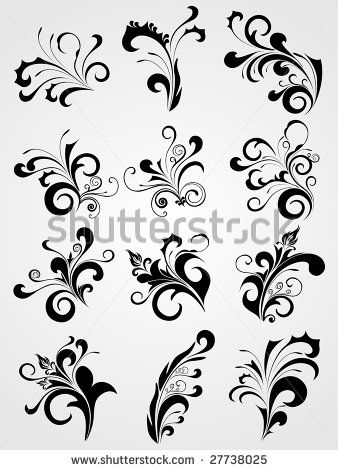 filigree designs set of antique black tattoos clipart stock vector