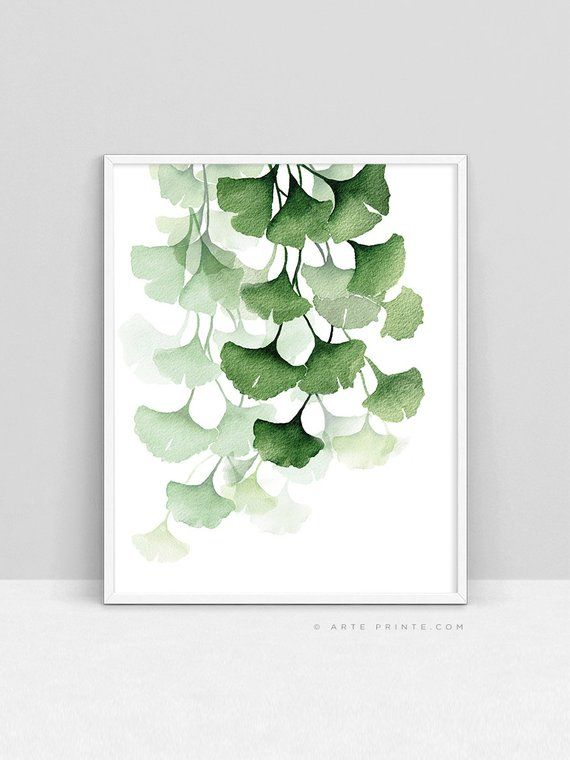 Green Watercolor Painting Ginkgo Biloba Leaves Wal