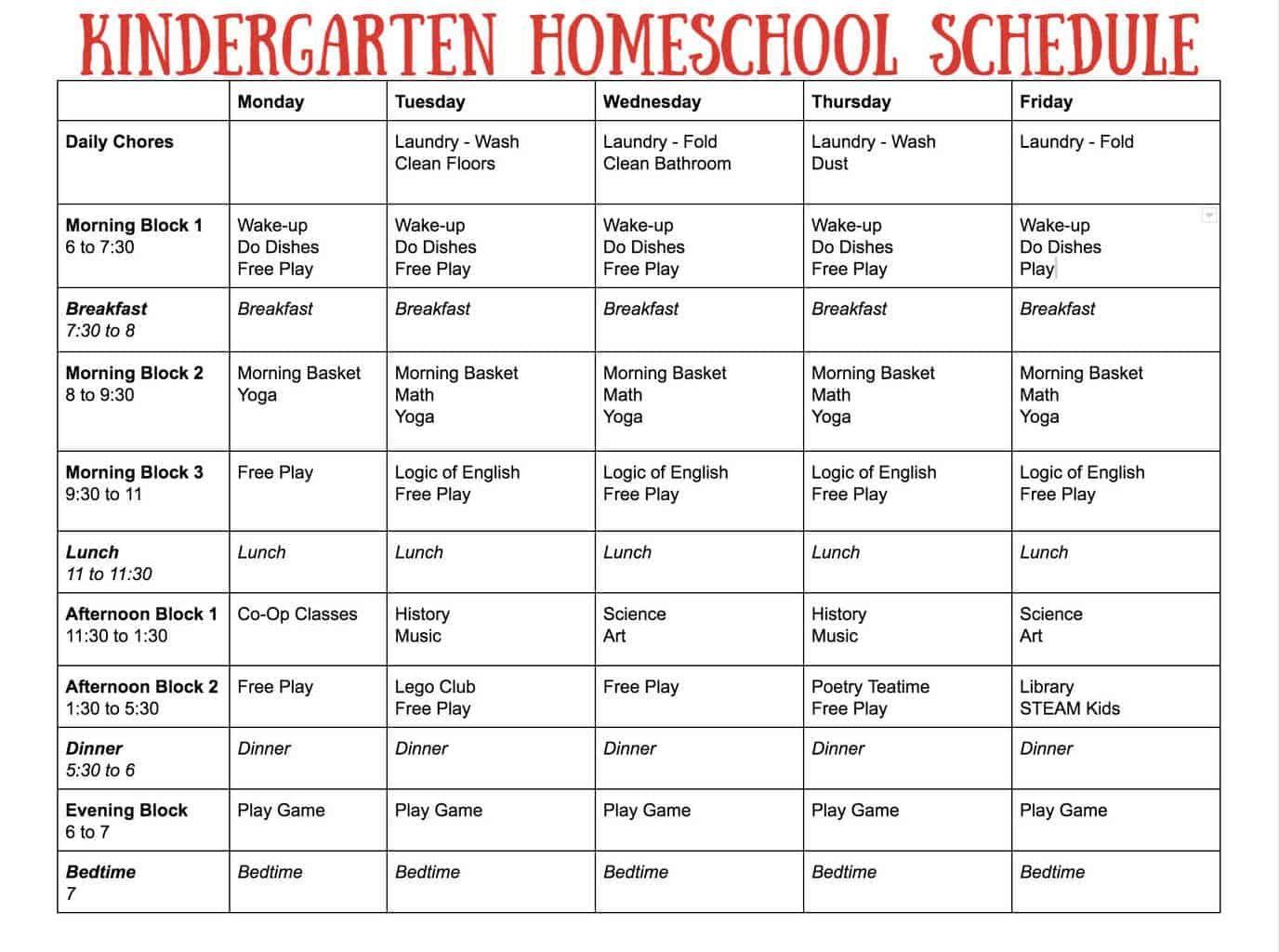 Simple Kindergarten Homeschool Schedule