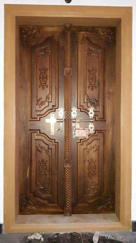 Classical Wooden Single Door Designs For Room: Kerala Type Double Door Design