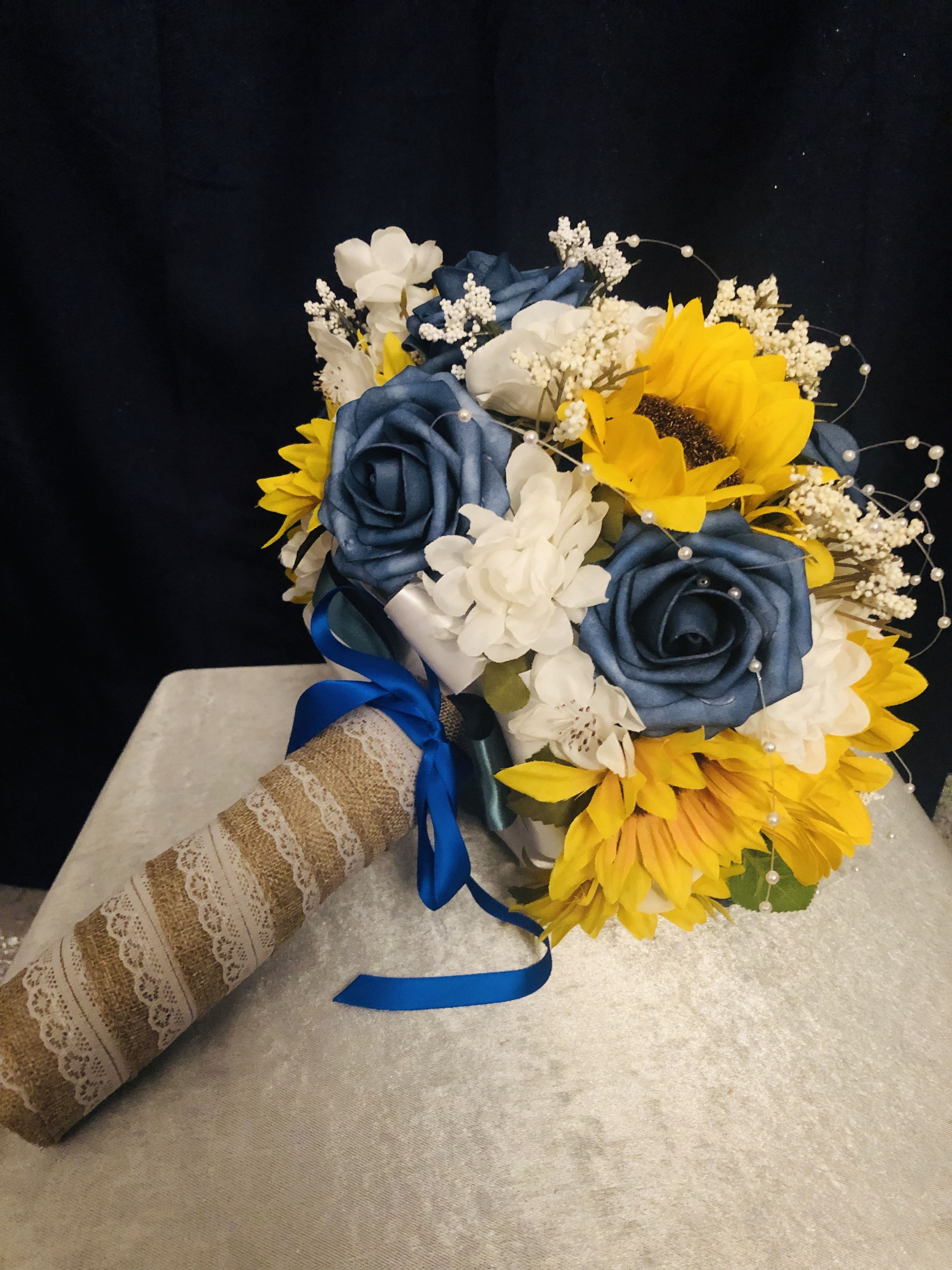 Wedding bouquet navy sunflower bouquet navy sunflower