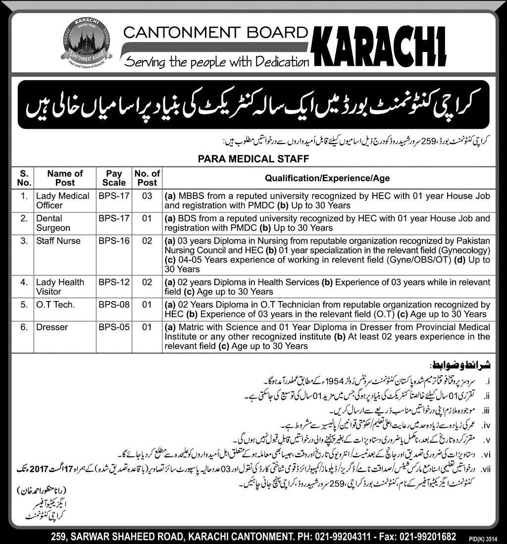 Jobs in Karachi under Cantonment Board for Lady Medical