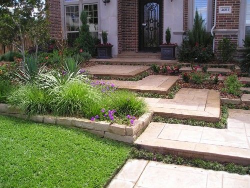 Shallow Big Steps Front Yard Landscaping Design Modern