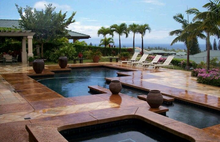 Holy!! I want this backyard/pool area which has ocean views & is in Kapalua, Maui Hawaii!