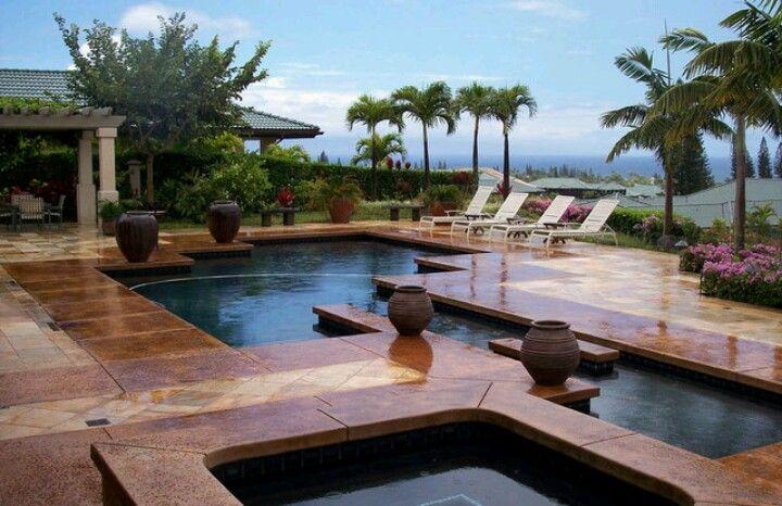 Holy I Want This Backyard Pool Area Which Has Ocean Views Is In Kapalua Maui Hawaii Hawaii Landscape Backyard Pool Backyard Garden