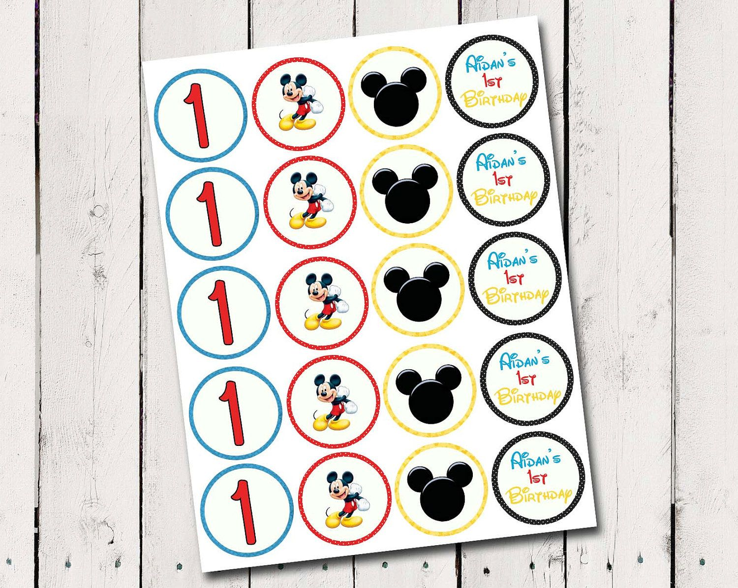 Free Printable Mickey Mouse Cupcake Toppers Mickey Mouse Cupcake Toppers Birthday Perso Mickey Mouse 1st Birthday Mickey Mouse Cupcakes 1st Birthday Cupcakes
