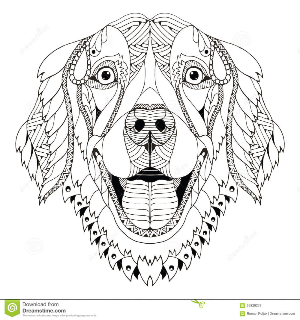 Pin By Barbe Mckittrick On Coloring Detailed Dog Coloring Page Zentangle Art Golden Retriever Art