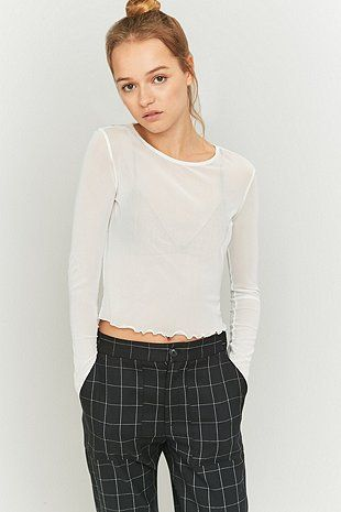 0f7a4bd5ce0 Light Before Dark Mesh Lettuce Edge Crop Top Urban Outfitters, Wear To  Class, Lettuce