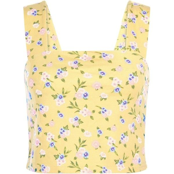 New Look Yellow Ditsy Floral Crop Top (€10) ❤ liked on Polyvore featuring tops, yellow top, yellow crop top, summer tops, crop top and beige top