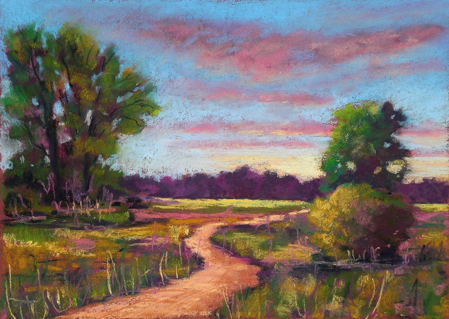 soft pastel landscape painting trees Pastell kreide