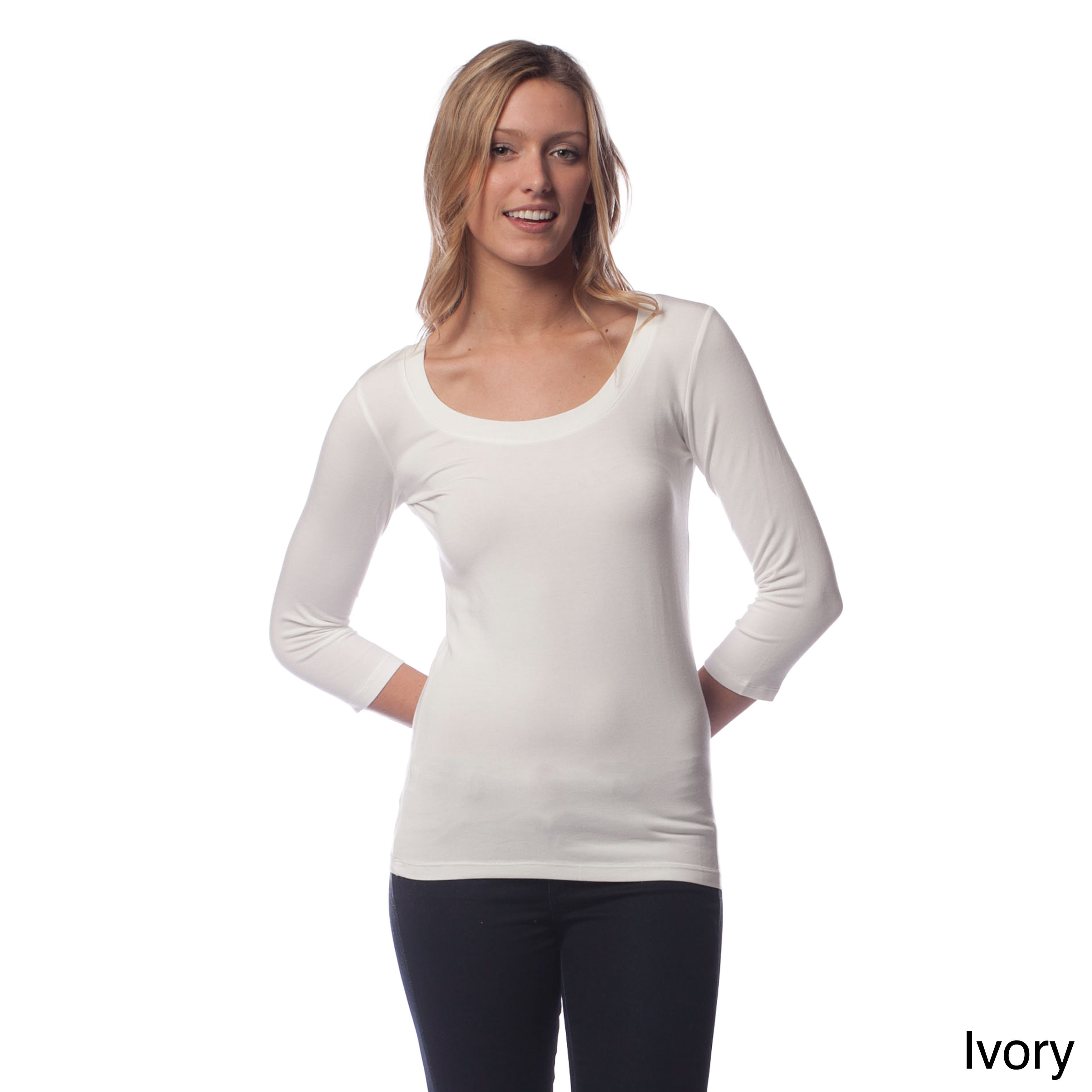 AtoZ Women's Modal 3/4 Sleeve Scoop Neck Top