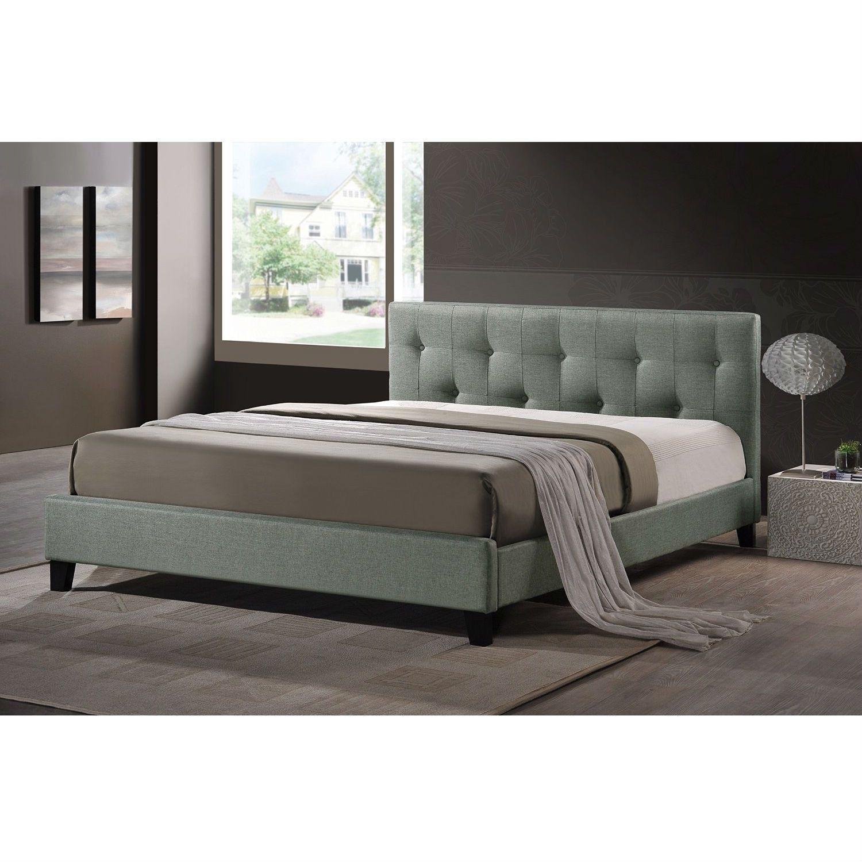 Fenton modern dark brown queen platform bed free shipping today - Queen Size Gray Linen Upholstered Platform Bed With Headboard