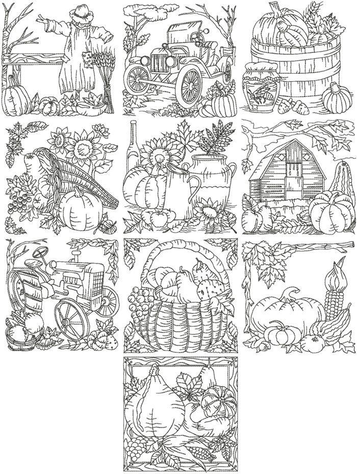 Advanced Embroidery Designs - Autumn Redwork Set III
