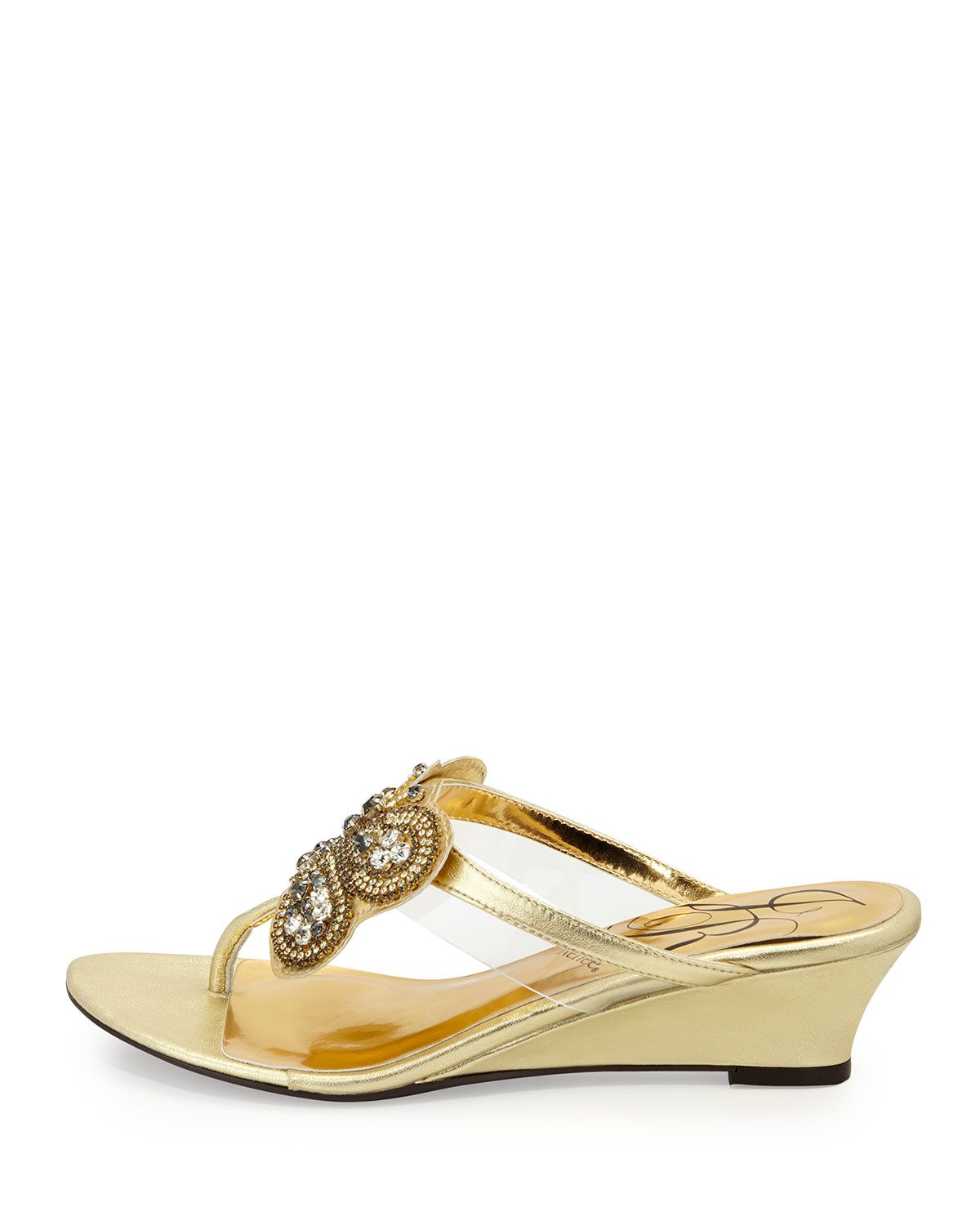 Freshy Butterfly Leather Thong Sandal, Gold
