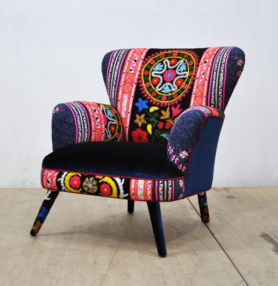 Suzani Armchair deep blue by namedesignstudio on Etsy ...