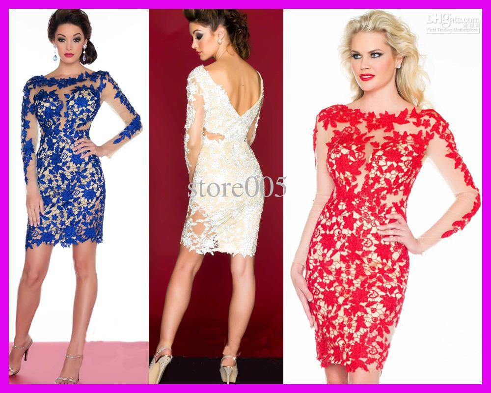 hot sell royal blue red beaded lace long sleeves column short