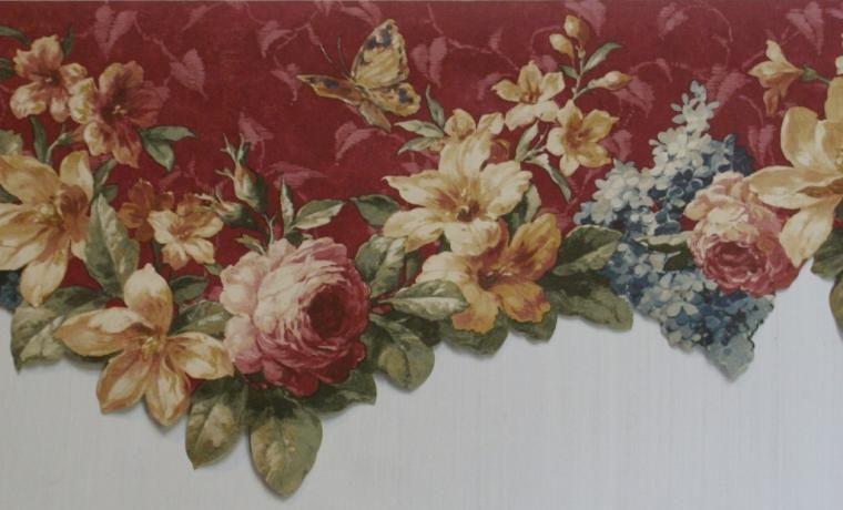 Free Download Burgundy Floral Scalloped Wallpaper Border Kitchen Bathroom 1024x621 For Your De In 2020 Floral Wallpaper Border Wallpaper Border Grey Wallpaper Border