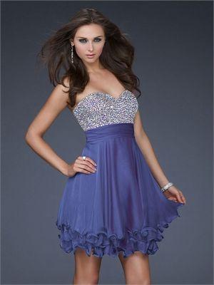 Short Bodice Beaded Sweetheart Neckline Layered Chiffon Prom Dress PD1923