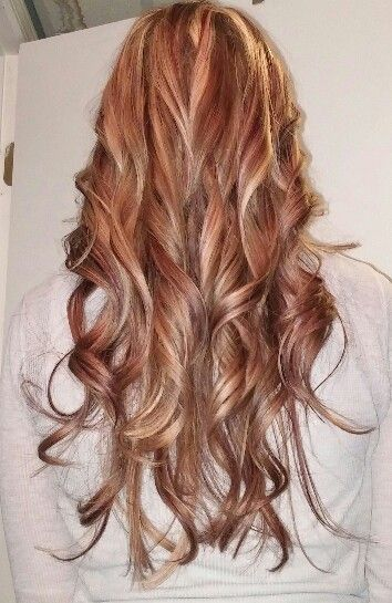Red Blonde Highlights With Caramel Lowlights Beauty Hair