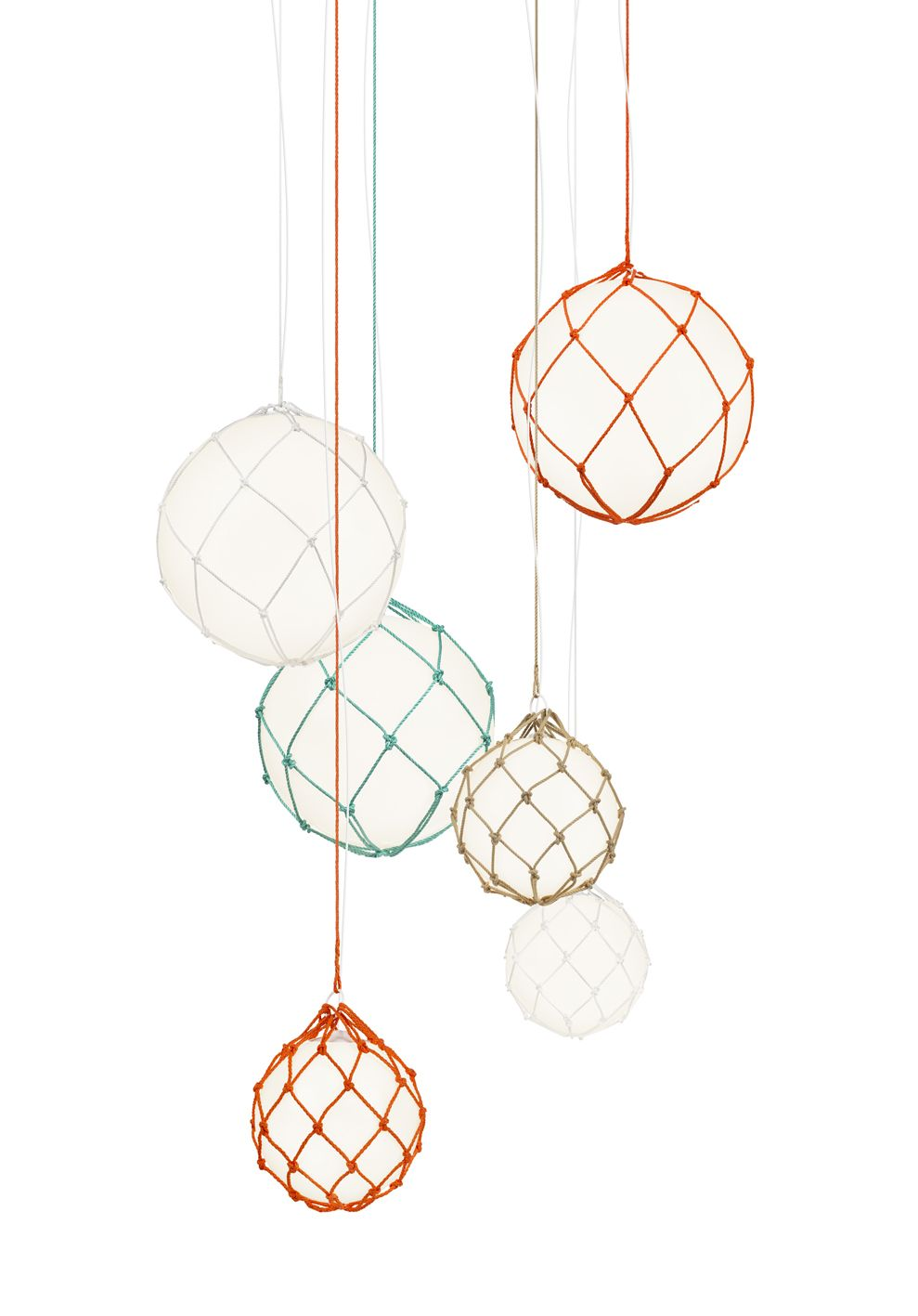 Fisherman Pendant by Mattias Ståhlbom, 2011. Shade in opal acrylic. Handmade net in white, orange or natural.