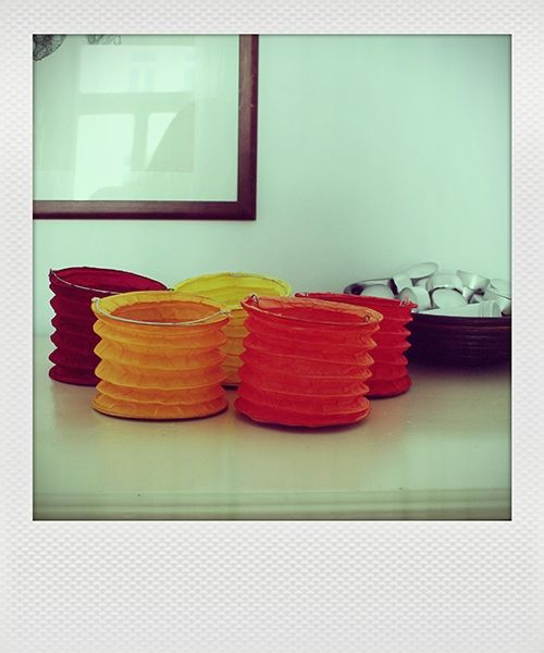 KADOH Papierlampions Set/5 rot-orange (M)