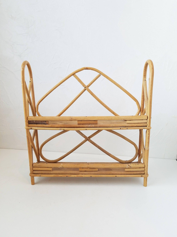 Vintage bamboo shelf small boho decor spice rack bathroom storage by