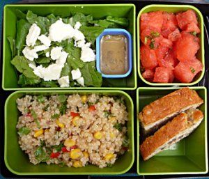 AWESOME school lunch ideas here. Confetti Quinoa, Green Salad with Feta, Cilantro Dressing, Watermelon and Mint Salad, Banana Nut Bread.