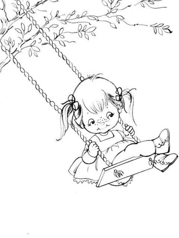 Girl On Swing   Coloring Pages   Pinterest