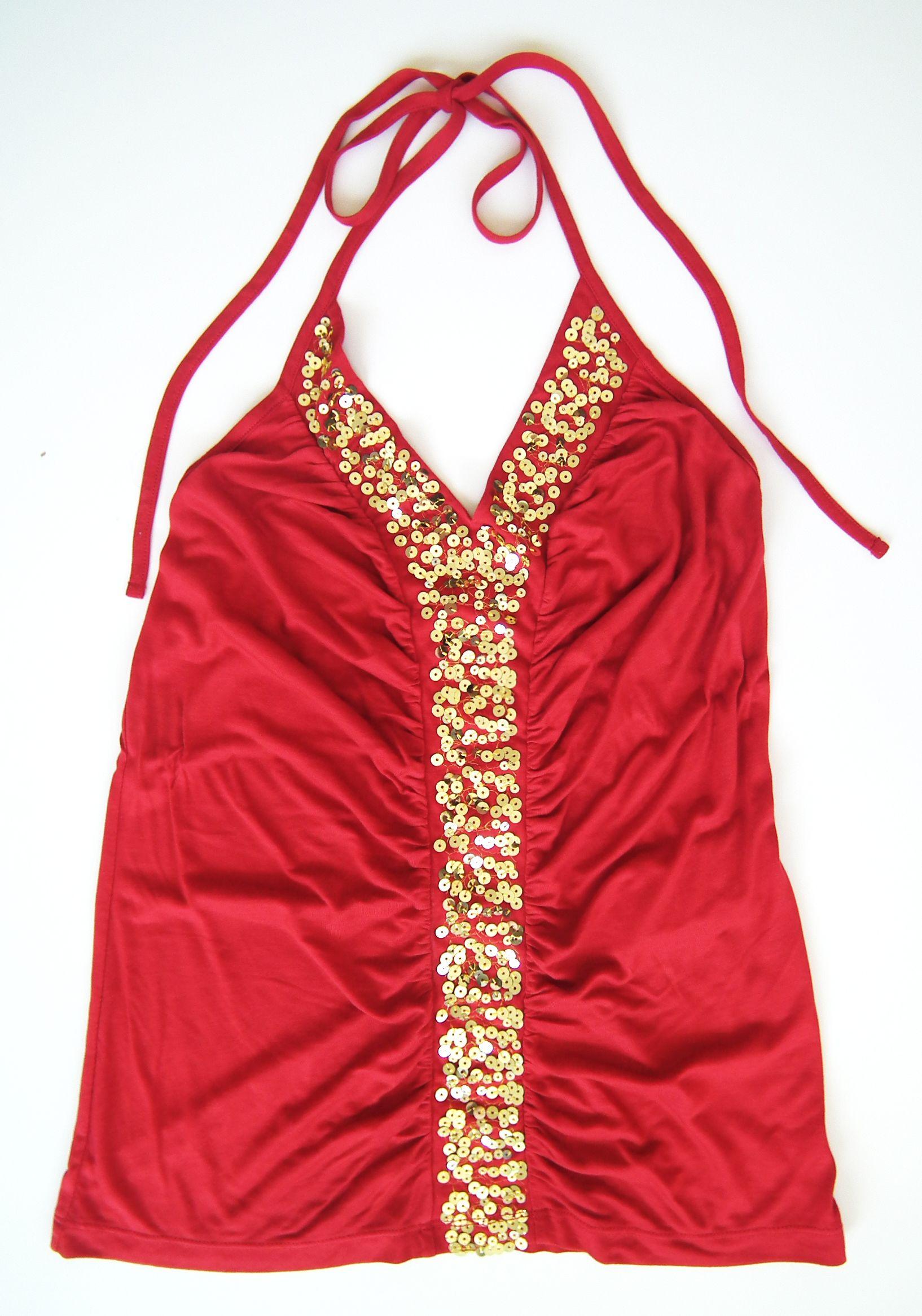 Top vermelho com lantejoulas douradas - Morgan