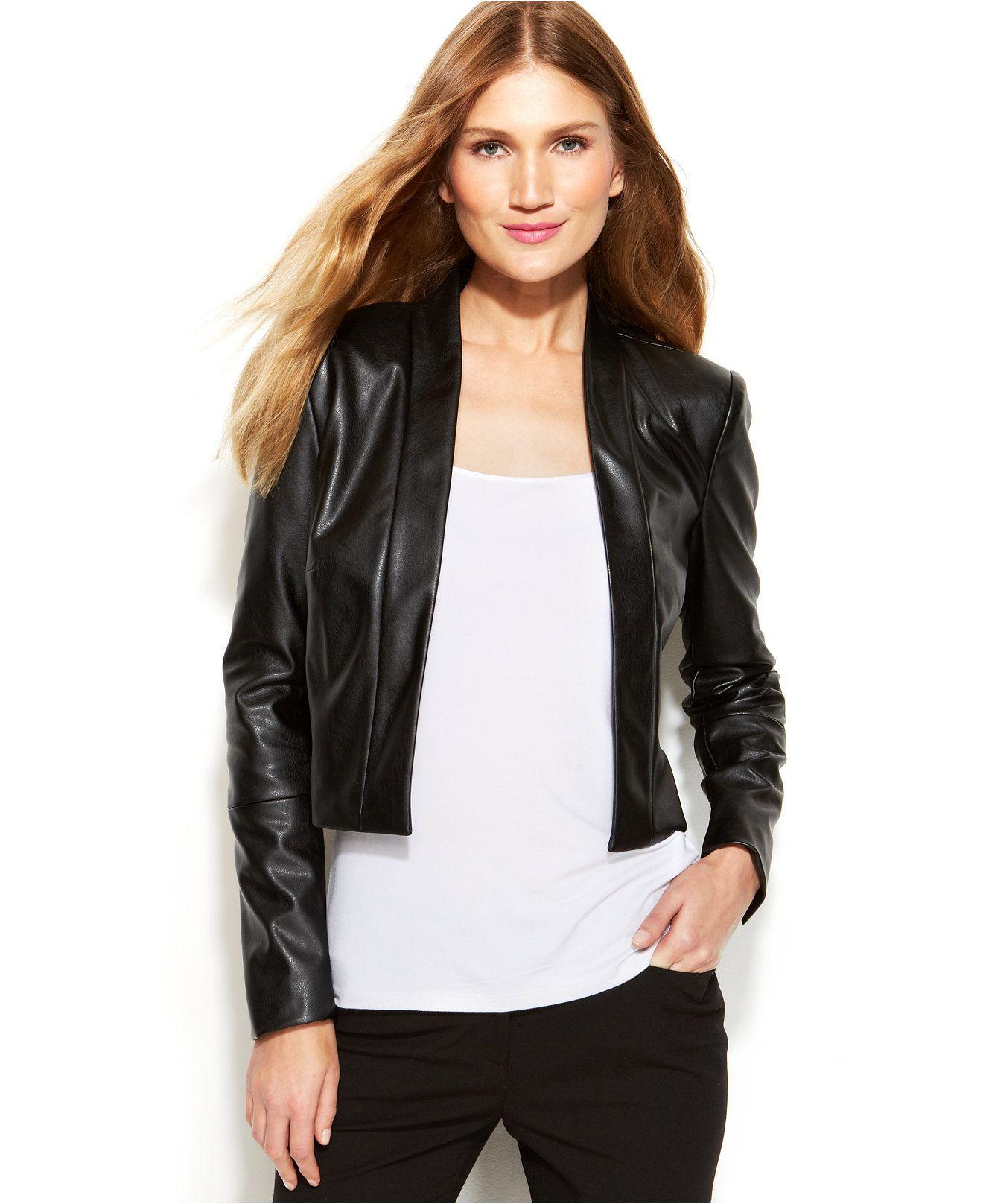 Calvin Klein Faux Leather Open Front Cropped Jacket Jackets Blazers Women Macy S Blazer Jackets For Women Crop Jacket Jackets [ 1616 x 1320 Pixel ]