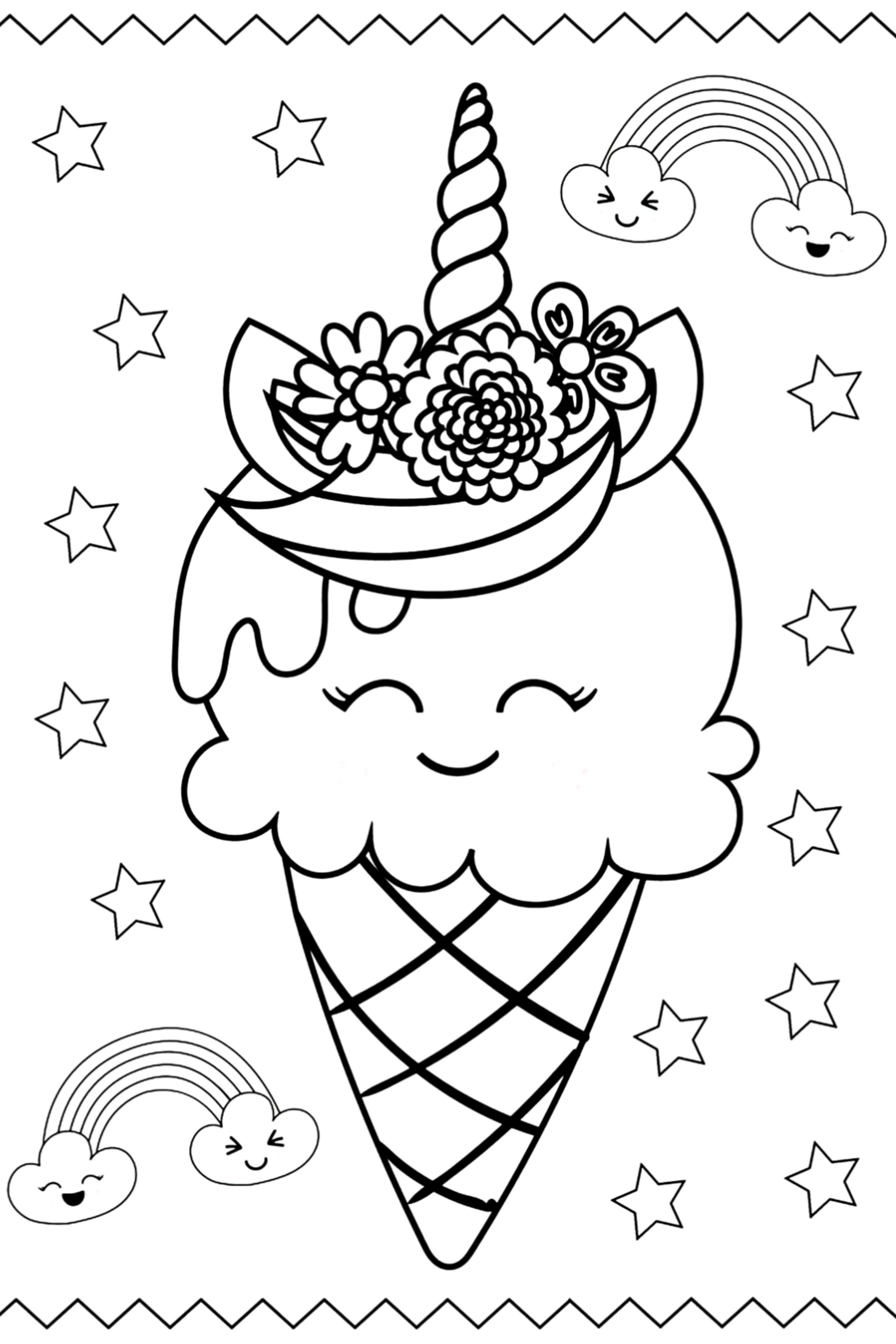 Print Cute Unicorn Ice Cream Kawaii Coloring Pages Unicorn Coloring Pages Coloring Pages Ice Cream Coloring Pages