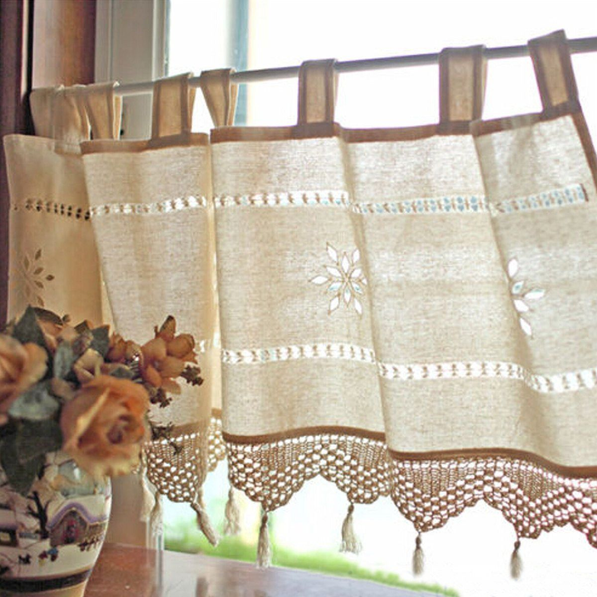 Country Style French Cotton Linen Embroidery Cafe Curtain