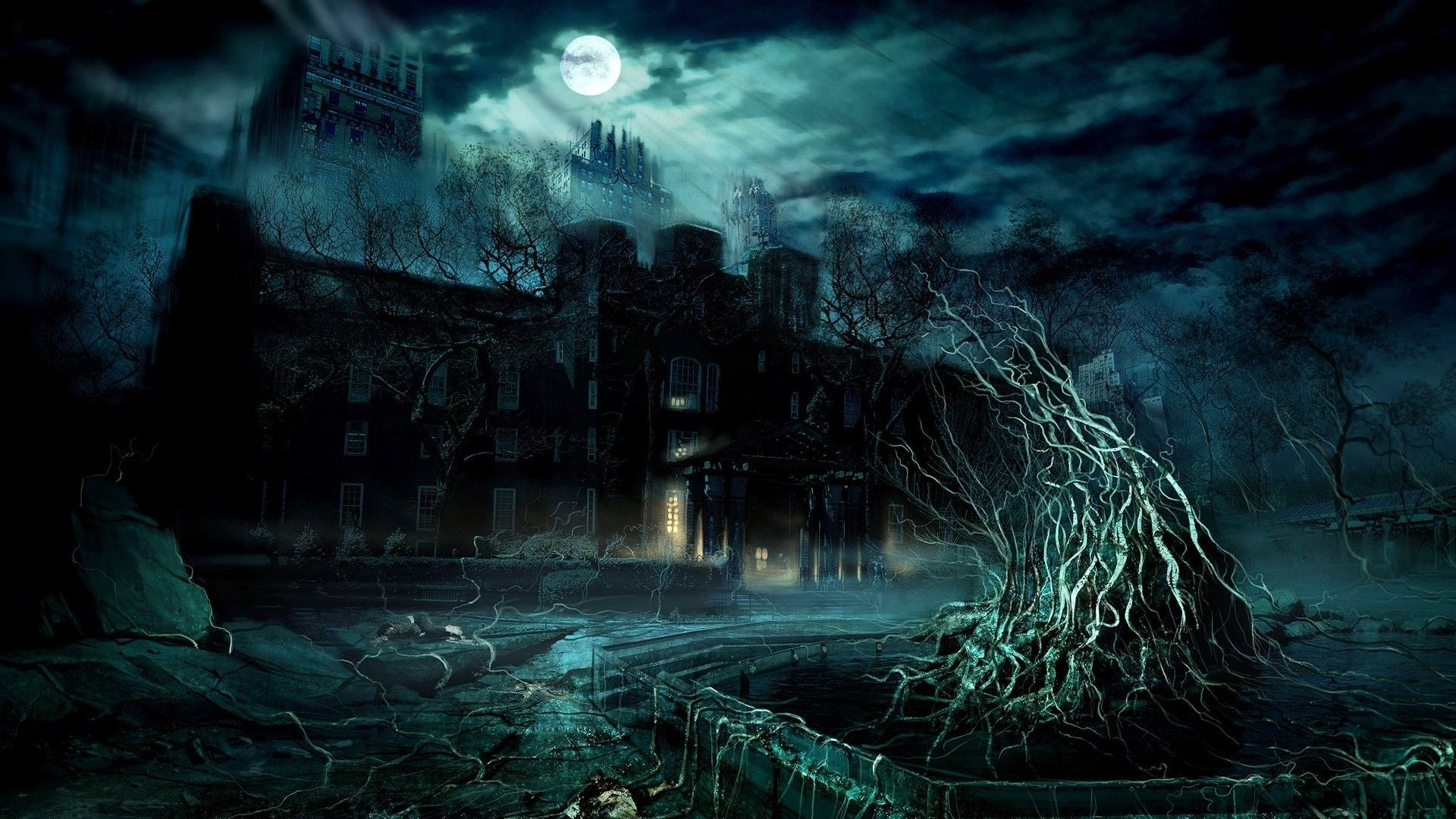 Dark mansion under the full moon digital art hd wallpaper