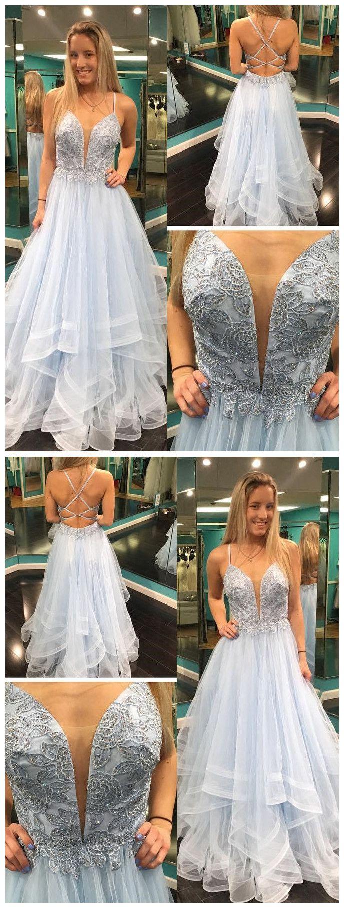 Aline spaghetti straps beading lace modest long prom dresses