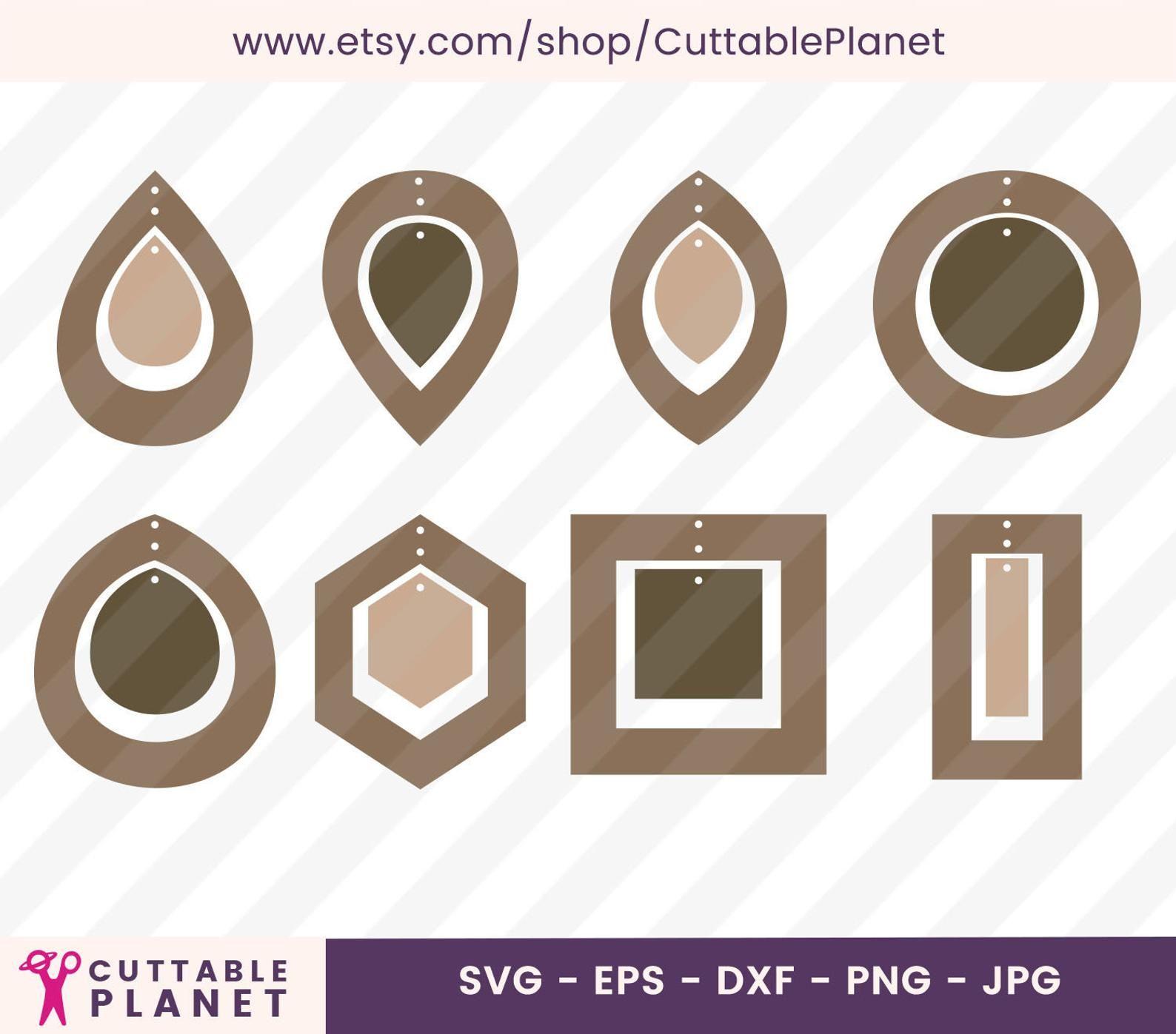 Deux boucles d'oreilles modèle svg, dxf, eps, png, jpg, téléchargement instantané (Code TP)