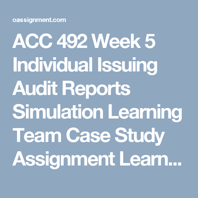 Acc  Week  Individual Issuing Audit Reports Simulation