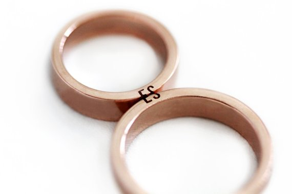 0a8af11e24 Matching initial couple rings 14k Rose gold, Unique Mens Wedding band set  with customized and person
