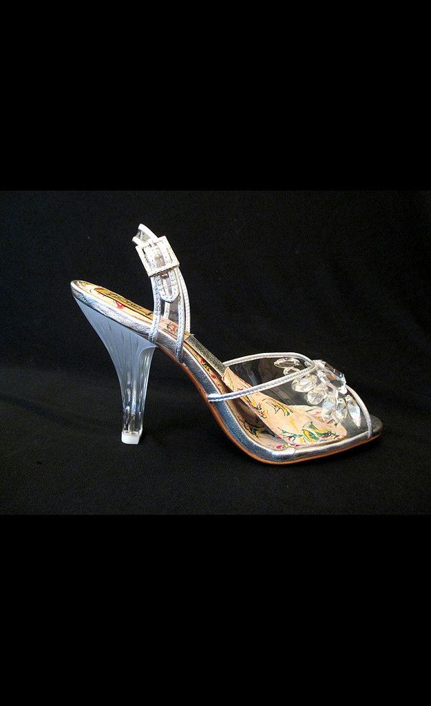 a9a953ec81891 Clear carved lucite cocktail heels were the epitome of sexy glamour ...