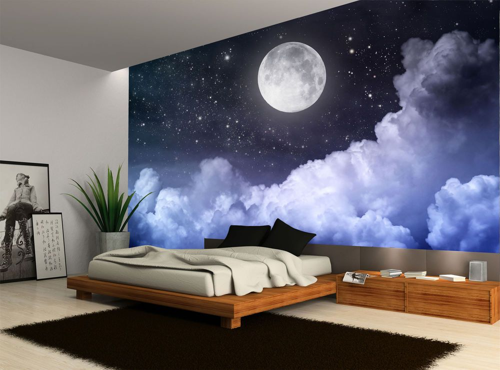 Night Sky Moon Clouds Dark Stars Wall Mural Photo Wallpaper Giant