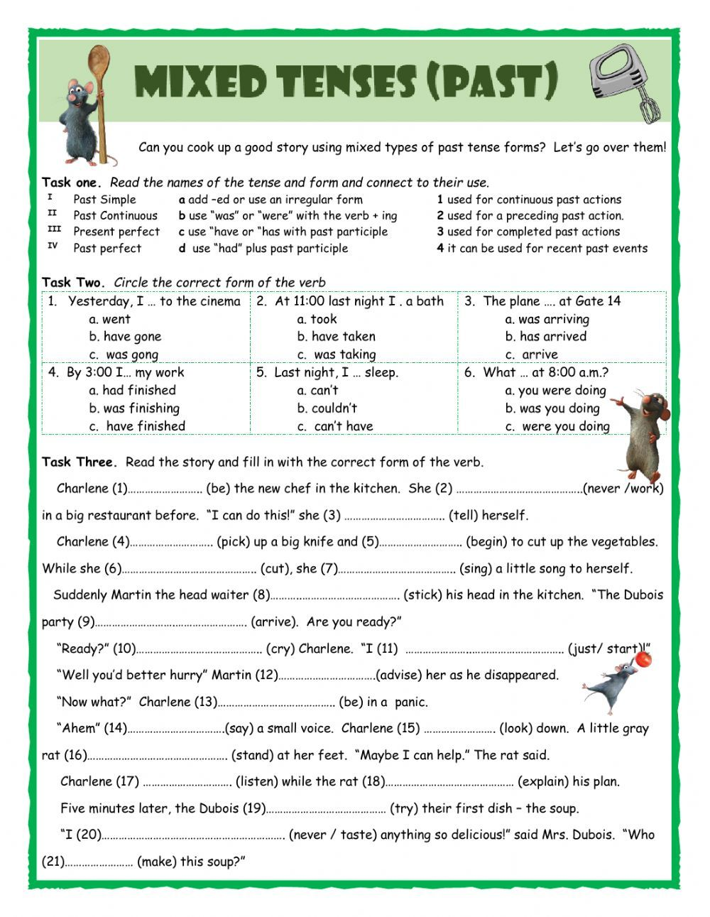 Past tenses interactive and downloadable worksheet. Check your answers  online or send them to your teach…   Past tense worksheet [ 1291 x 1000 Pixel ]