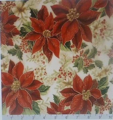 Kaufman Christmas Metallic Holiday Flourish 8 15149 223 Cream Poinsettia HC188