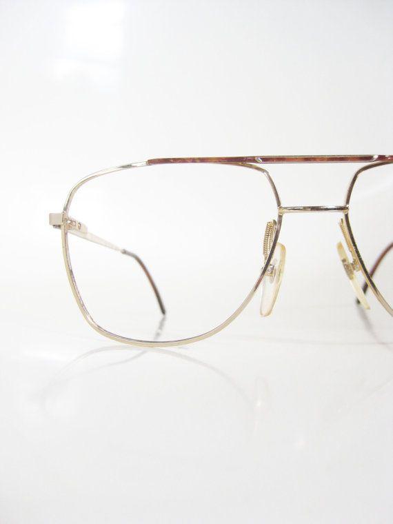 23bdf3c1bc Vintage Italian Aviator Mens Wire Rim Glasses Eyeglasses 1970s Gold  Metallic Shiny Faux Bois Tortoiseshell Deadstock NOS New Old Stock 70s