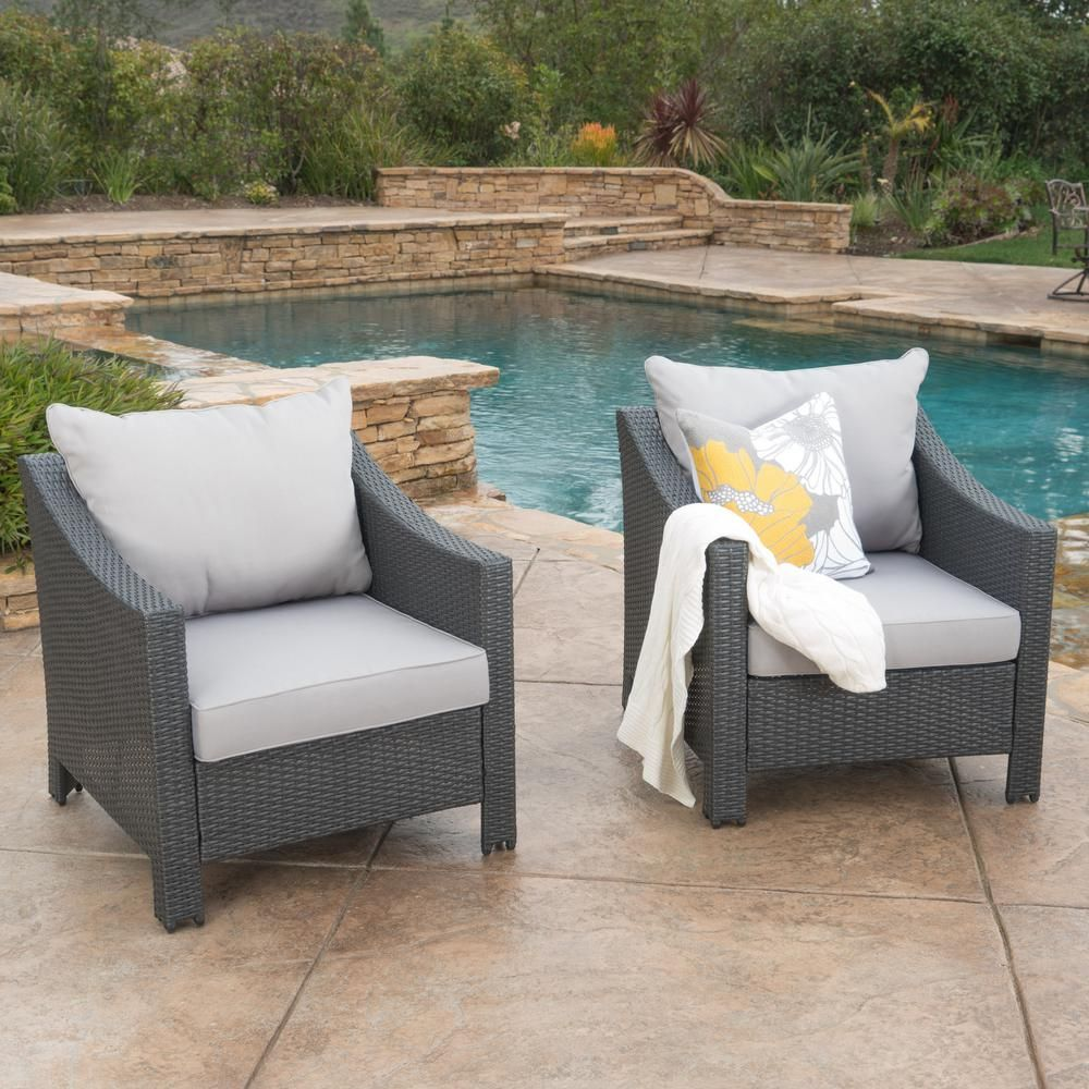 Noble House Antibes Grey Stationary Wicker Outdoor Lounge Chair