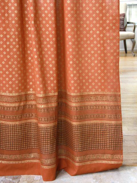 Shimmering Goldstone Orange Gold Sari India Curtain Panel